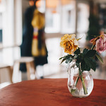 Vase with flowers in a cafe. Colorful blurry background. thumbnail