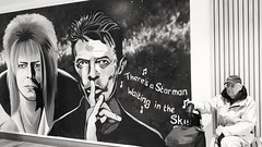Waiting for the star man..... (markwilkins64) Tags: davidbowie bromley uk selondon streetphotography street blackandwhite bw mono monochrome streetart art bowie