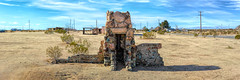 Only the Fireplace Remains (joe Lach) Tags: fireplace dilapidated structure mojavedesert mohavedesert colorful bricks blue brown sky dirt hivista joelach antelopevalley