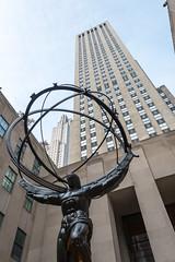 Atlas, at Rockefeller Plaza (MikePScott) Tags: 5thavenue atlas buildings builtenvironment camera featureslandmarks monument newyork newyorkcity nikon28300mmf3556 nikond800 rockefellercenter skyscraper statue usa window unitedstatesofamerica