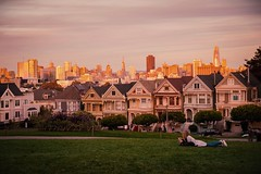 3/100x: Full houses. (jenniferdudley) Tags: nikkor nikond4s nikon sunsets sunset travelphotography fullhouse victorian paintedladies victorianarchitecture travel america usa sanfrancisco city cityscape