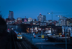 Blue Hour Express (Andrew Shenton) Tags: leeds blue hour transpennine express 1f81 class185 dusk night city copleyhill railway train