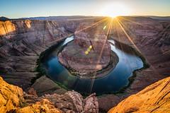 Sunset rays over Horseshoe Bend (NettyA) Tags: 2017 arizona coloradoriver glencanyonnationalrecreationarea horseshoebend northamerica page sonya7r usa sunset travel us unitedstates sun sunrays
