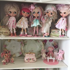 The girls are overtaking my china cabinet 💗