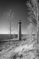 IMGP4025 (Drew's Arcade) Tags: bnw balck white infrared beach michigan winter puremichigan lighthouse light house