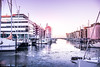 By the dock (Maria Eklind) Tags: pink småbåtshamn båtar malmö dockan marina reflection spegling sweden outdoor boats architecture winter ice skånelän sverige se boat sky water building