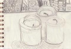 Als Weihnachten dann ganz plötzlich vorbei war, standen die Reste vom Adventskranz im Wohnzimmer, und ihnen war langweilig (raumoberbayern) Tags: zeichnung drawing sketch sketchbook skizzenblock dina5 wohnzimmer livingroom robbbilder graphite grafit stillife stillleben naturemorte fernsehen tv kerzen candles