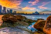 Sunset from Sydney Harbour (600tom) Tags: boats clouds operahouse harbourbridge water sunset sydney