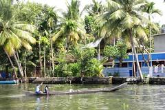 Kerala Backwaters, South India - Home from School by Boat (zorro1945) Tags: alleppey alleppuzha kerala india indie southindia backwaters keralabackwaters schoolkids longboat river canal kids children schoolchildren rower oarsman