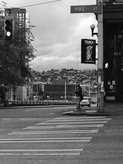 Waiting alone (Axle Zhang) Tags: streetphotography blackwhite blackandwhite bnw alone street seattle