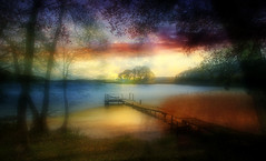 Lake (augustynbatko) Tags: lake nature water landscape view pier trees tree sky clouds