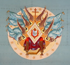 Sts. Cyril and Methodious Alpha Omega with Six Angels (Jay Costello) Tags: stscyrilandmethodiousukrainiancatholicchurch stscyrilandmethodious ukraniancatholic ukrainian catholic church catholicchurch god worship religion stcatharines ontario on stcatharineson canada ca angel throne blue