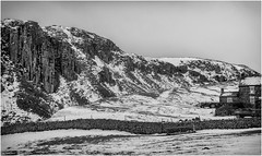 Holwick Scar . (wayman2011) Tags: f2 fujifilmxf35mm lightroomfujifilmxpro1 wayman2011 bwlandscapes mono rural cottages cliffs winter snow pennines dales teesdale holwick countydurham uk