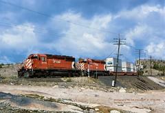 (SEE & HEAR)---CP 5778-5752, 412, Romford, ONT.   9-18-1994 (jackdk) Tags: train railroad railway cp cpr canadianpacific canada romford ontario sd40 sd402 emd emdsd40 emdsd402 pacman