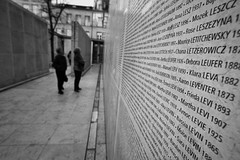 The day I found my name on the wall. The Shoah Memorial Paris (rvjak) Tags: paris france black white noir blanc bw d750 nikon mémorial memorial shoah people