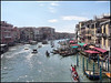 Grand Canal Venice from Rialto Bridge. (Country Girl 76) Tags: venice venezia italy grand canal water architecture buildings gondolas vaporetto people diners cafe boats reflections mooring posts sky clouds balconies busy