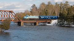Joint OCS (jc_canon) Tags: centralmainequebec cmq panam panamrailways par eastoutlet mooseheadsub moosehead kennebecriver ocs emdgp383 emd gp383 river water bridge railroadbridge train passenger passengertrain