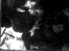 Dance of the dream man (George Lion) Tags: noir et blanc black white nb bw bn scarce painting art shadow light lights blur shape shapes shade forms damaged perception chaos nature leaf leaves leave mystery shiny shine shining confuse damages color green shades form strange life red flash paint horror museum paris uncertain