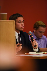 SGA Debates 2018-11 (dailycollegian) Tags: carolineoconnor sga debates hosted by collegian commonwealth honors college events hall event roots candidates for president vice trustee tim conceison