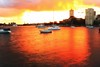 Water on fire.... (Masoodz) Tags: sea water sun sunset red yellow golden boats canon 650d efs1855 dpp4 googlenik australia nsw sydney lunapark