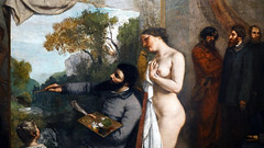 Courbet, The Studio, detail with model