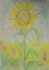 The Two Minute Sunflower (BKHagar *Kim*) Tags: bkhagar art artwork painting artday sunflower yellow nature impressionist sketch 2minutesketch pencil watercolor watercolour