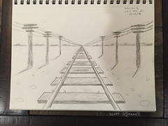 Railroad Tracks (scottnj) Tags: 365the2018edition 3652018 day54365 23feb18 draw drawing sketch sketching 365 54365 scottnj scottodonnellphotography railroad railroadtracks telephonepoles onepointperspective