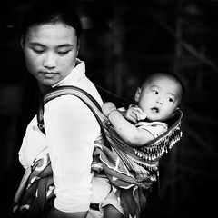 Mother and Child (.....and ant) (lisacesari) Tags: blackwhite ant youngmother blackandwhite bw tribal tribe vietnam bacha baby child mother