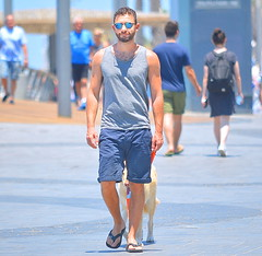 Dog's Best Friend (Alan46) Tags: hunk stud handsome sexy muscular muscles masculine tanktop sunglasses beard scruff sunshaved gingy ginger redhead carrottop jeans levis dog man guy guapo macho telaviv israel
