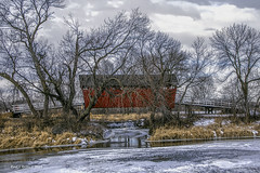 Cold Red Heart! (jackalope22) Tags: bridge red covered trees shellrock greenbelt coveredbridge winter
