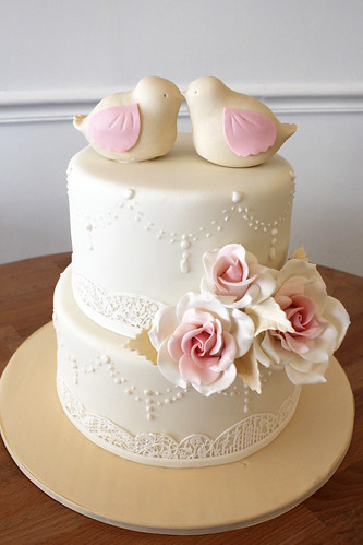 Ivory and Lace Love Birds Wedding Cake
