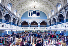 Top to Bottom Vintage (DobingDesign) Tags: oxfordtownhallvintagefair vintage balconies ceiling gradeiilisted mainhall neojacobean victorian vaulted clothing stalls market trading bargains heirlooms antiques rareties old oldfashioned stucco arches room perspective retro architecture architecturaldetail marketstalls clothesrails racks shop people wood window wall chandelier buildling classicitems rare blue symmetry ornaments collectibles
