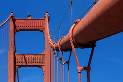 Red and Blue (Katka S.) Tags: usa america united states san francisco city big california architecture golden gate bridge metal man made sky contrast detail rope red