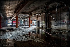 flagstone reflections (TheOtherPerspective78) Tags: urbex lost lostplace lostplaces abandoned abandonedplaces vienna wien building architecture architektur desolate decay derelict flagstones reflection reflections mirror water puddle destruction city cityscape urban concrete wasteland leak pillars tagging graffiti theotherperspective78 canon tse24ii