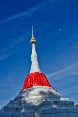 Mon style leaning chedi on Koh Kret, a small island in the Chao Phraya river near Bangkok, Thailand (UweBKK (α 77 on )) Tags: mon style chedi stupa leaning red blue white koh kret island chao phraya river symbol religious religion buddha buddhist buddhism thailand southeast asia sony alpha 77 slt dslr