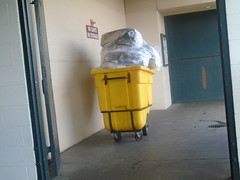 DSC01277 (classroomcamera) Tags: att park giants san francisco grabage trash pile recycle yellow cart wheel concrete empty alone lonely work clean job working green white