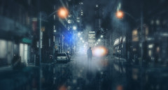 Wet City Nightscape (chiaralily) Tags: night rain landscape manipulation photoshop chiaralily tutorial man street cityscape wet reflection