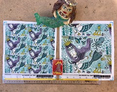 """Quirky Mermaid with Sea Friends"", large and small scale fabric test swatches. My original digital artwork. Available as fabric, wallpaper and gift wrap. https://www.spoonflower.com/fabric/7251933-quirky-mermaid-sea-friends-large-scale-by-amy_g. (sassyone2013) Tags: sea creatures weird fantasy whimsical quirky indie gifts fishes beach house mermaid decor home gift water seahorse fish bubbles crabs kelp starfish octopus sirena nautical marine ocean mermaids lasirena mermaidgifts mermaidgift beachhouse sewing sew quilting wallpaper giftwrap fabriccrafts fabriccrafting sealife mermaidfabric mermaidfabrics"