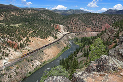 Pushing coal into Little Gore Canyon (Moffat Road) Tags: unionpacific up canyon river dpu upmoffattunnelsub coloradoriver littlegorecanyon radium azure colorado co coaltrain 8509 sd70ace emd