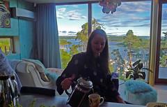 coffee (Leifskandsen) Tags: woman serving coffee girl view oslofjorden window summer camera living leifskandsen skandsenimages scandinavia skandsen sea coast