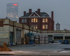 Bitter Dawn (D. Coleman Photography) Tags: dawn twilight morning winter cold snow weather overcast cloudy philly south philadelphia pennsylvania washington avenue 23rd street streets buildings school lights fmc skyscraper skyline church steeple layers blending colors industrial depot construction supply urban city cities cityscape scenes towns town building architecture