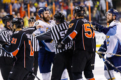 "Kansas City Mavericks vs. Toledo Walleye, January 20, 2018, Silverstein Eye Centers Arena, Independence, Missouri.  Photo: © John Howe / Howe Creative Photography, all rights reserved 2018. • <a style=""font-size:0.8em;"" href=""http://www.flickr.com/photos/134016632@N02/24969300727/"" target=""_blank"">View on Flickr</a>"
