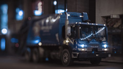 Garbage Truck (Jovan Jimenez) Tags: sony a6500 tilt shift nikon series e 50mm f18 vision3 500t 5219 cinestill lut garbage truck blue cinematic alpha 6500 ilce seriese eseries tiltshift kipon adapter night chicago city bokeh pancake lens film emulation luts