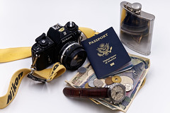Will Travel (athomsfere) Tags: nikon em d850 film 35mm passport yen 円 watch flask scotch whiskey travel gear essentials coins camera