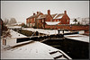 Bottom Lock in the snow (Jason 87030) Tags: cut crt guc grandunioncanal local braunston village canal lock bottom northants northamptonshire bvn delivery march 2018 first debut cottage shop cold snow weather water bricks scene view uk england frame border