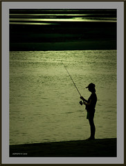 Fishing framed (agphoto100) Tags: fish fishing beach water sea brisbane creek cabbagetree rod sand bank sandbank pentax light dark shine glare sunset pools hat standing