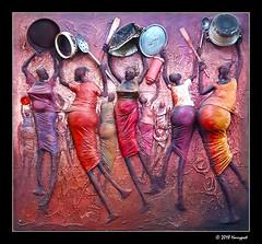 kitchen utensil installation art by panca zannao (harrypwt) Tags: harrypwt framed samsungs7 s7 paintinglike interesting pan art costumes coutounou benin red purple people