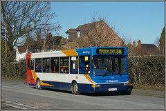 34594 (KP04 GZM) (Jason 87030) Tags: dart slf pointer transbus denns kp04gam february 2018 road roadside red white blue oeange 3a service route stagecoach midlands wheels trees warwickshire 34592