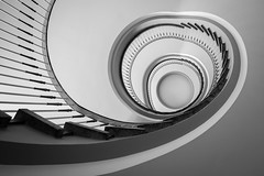my HEART beats for spirals (Blende1.8) Tags: spiral wendeltreppe staircase treppenhaus treppe stairs stair banister line lines peerspective interior circular black white schwarz weiss weis bw sw architecture architektur indoor indoors curves curvy carstenheyer treppenauge abstract abstrakt herz heart form forms gedreht steps stufen nikon d700 wideangle 1635mm