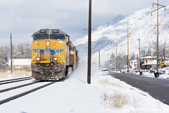 Dashing through the snow (matt c paulson) Tags: unionpacific unionpacificutah railroad railfan railcars denverandriograndewestern rails railwayyard manifest intermodaltrain americanwest adventure utahrailway utahrailfan utahrailroad snow